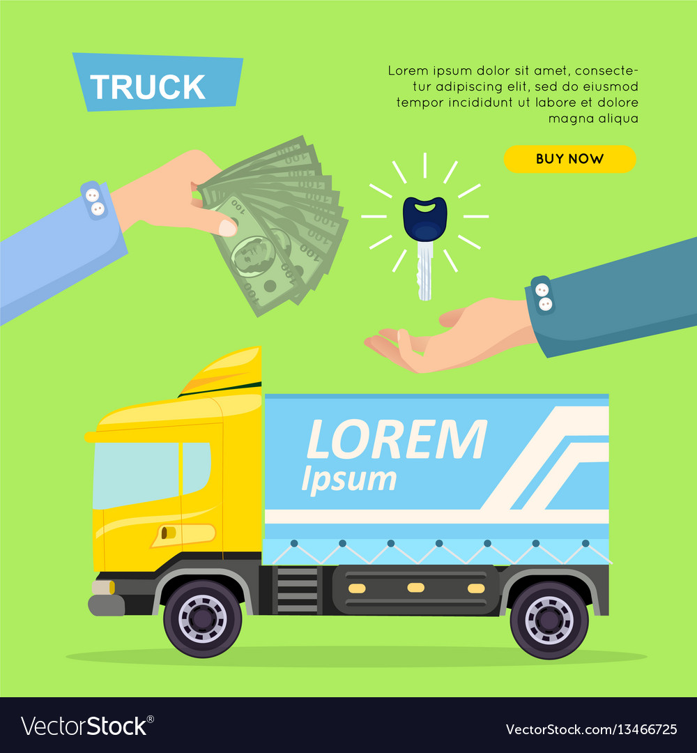 Buying truck online car sale web banner Royalty Free Vector