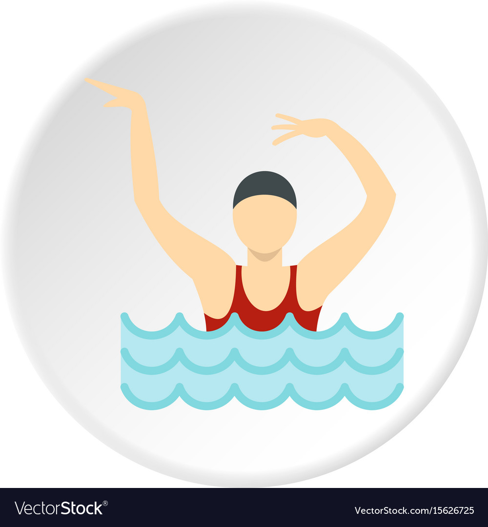 Dancing figure in a swimming pool icon circle vector image