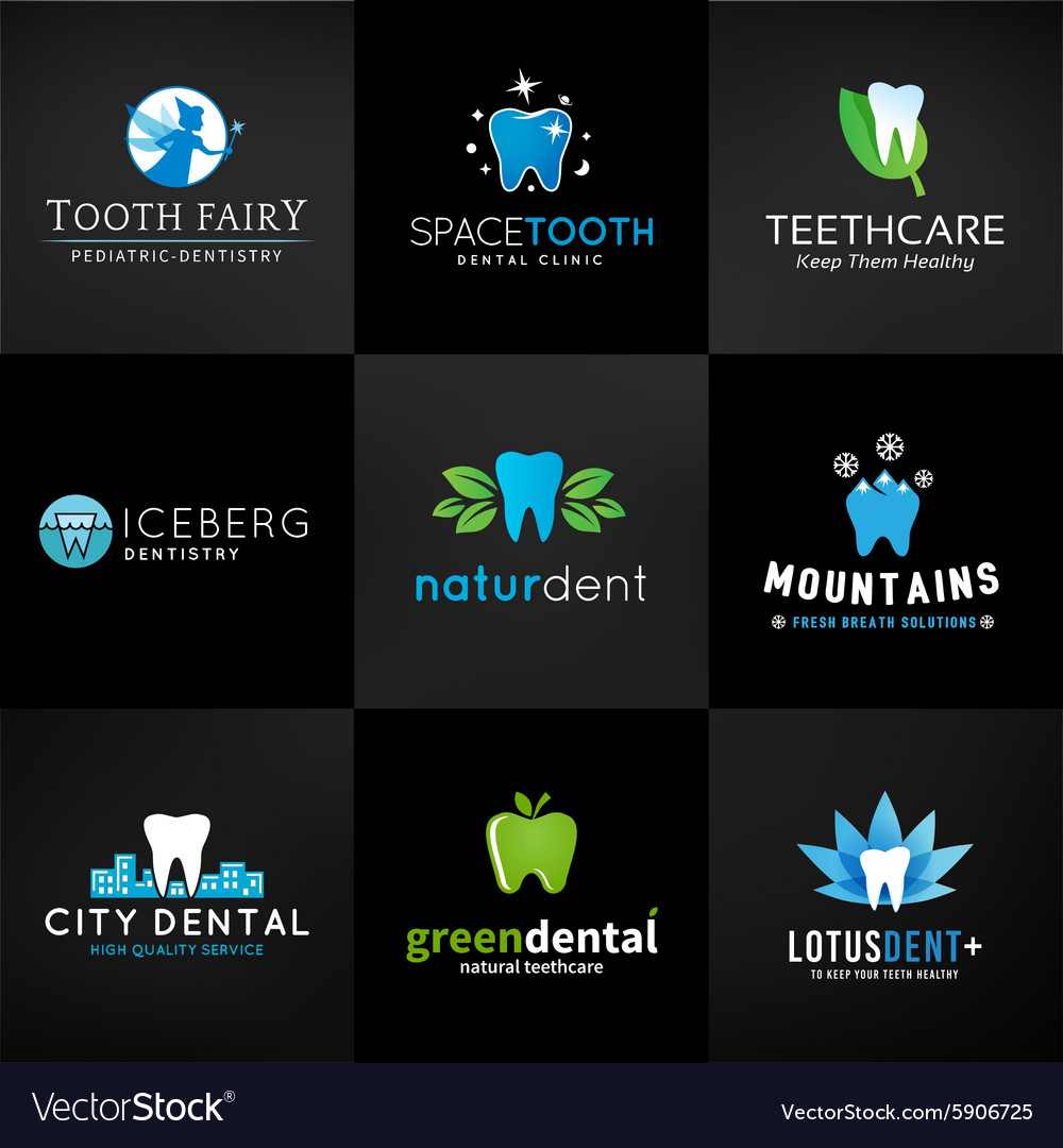 Set of dental logos tooth designs Teeth vector image