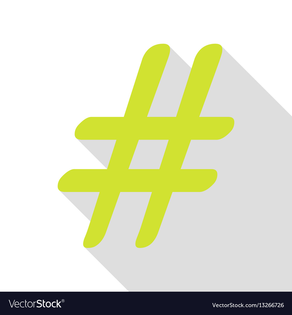 Hashtag sign pear icon with flat vector image