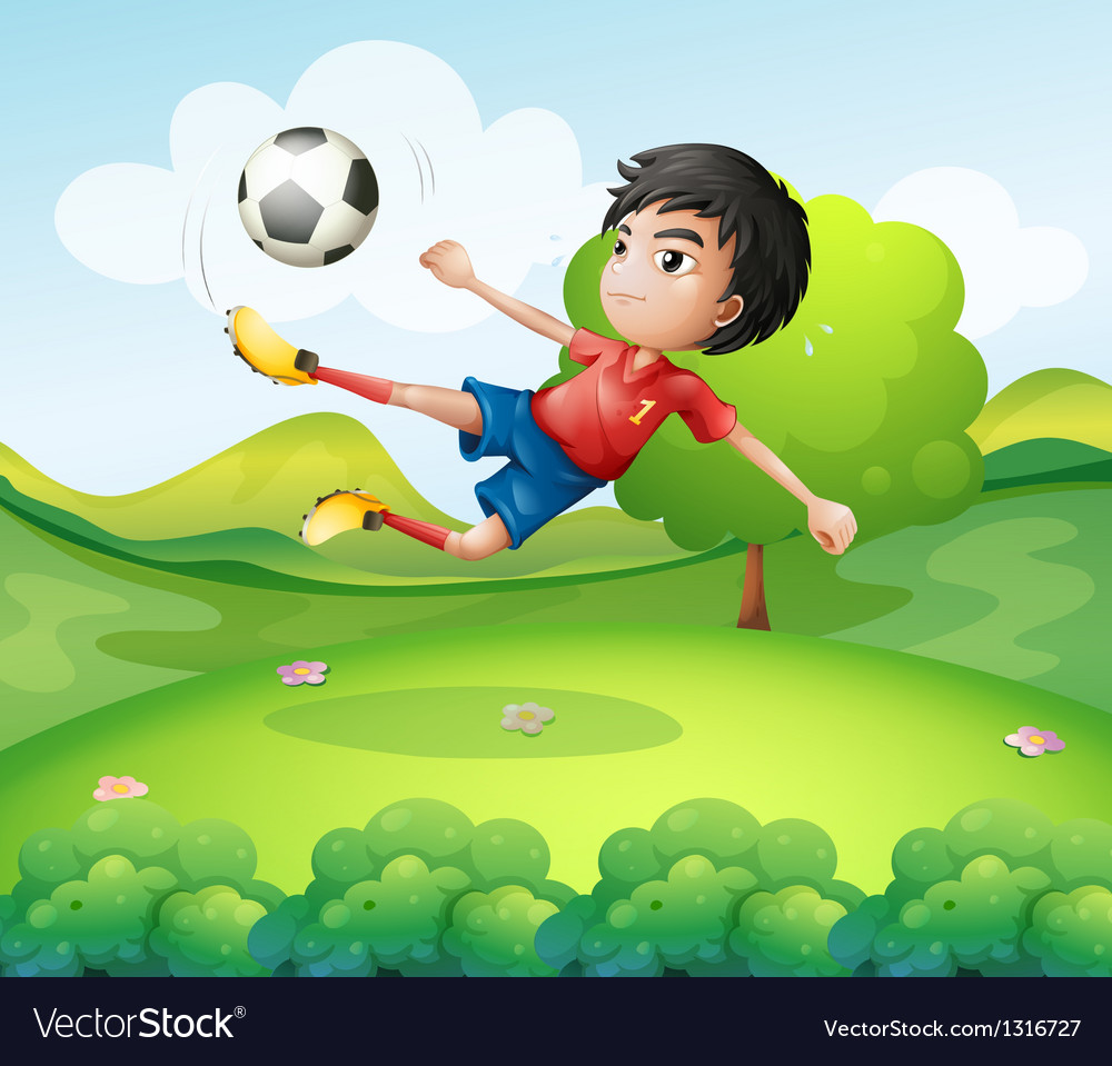 A boy kicking the soccer ball at the hilltop vector image