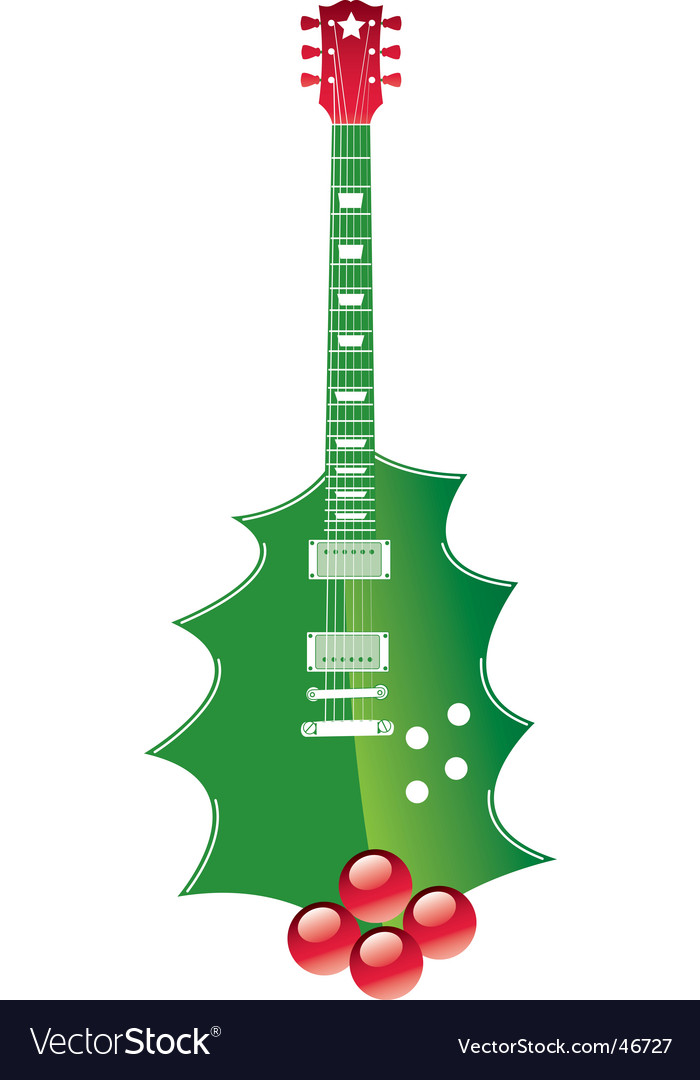 Christmas guitar vector image