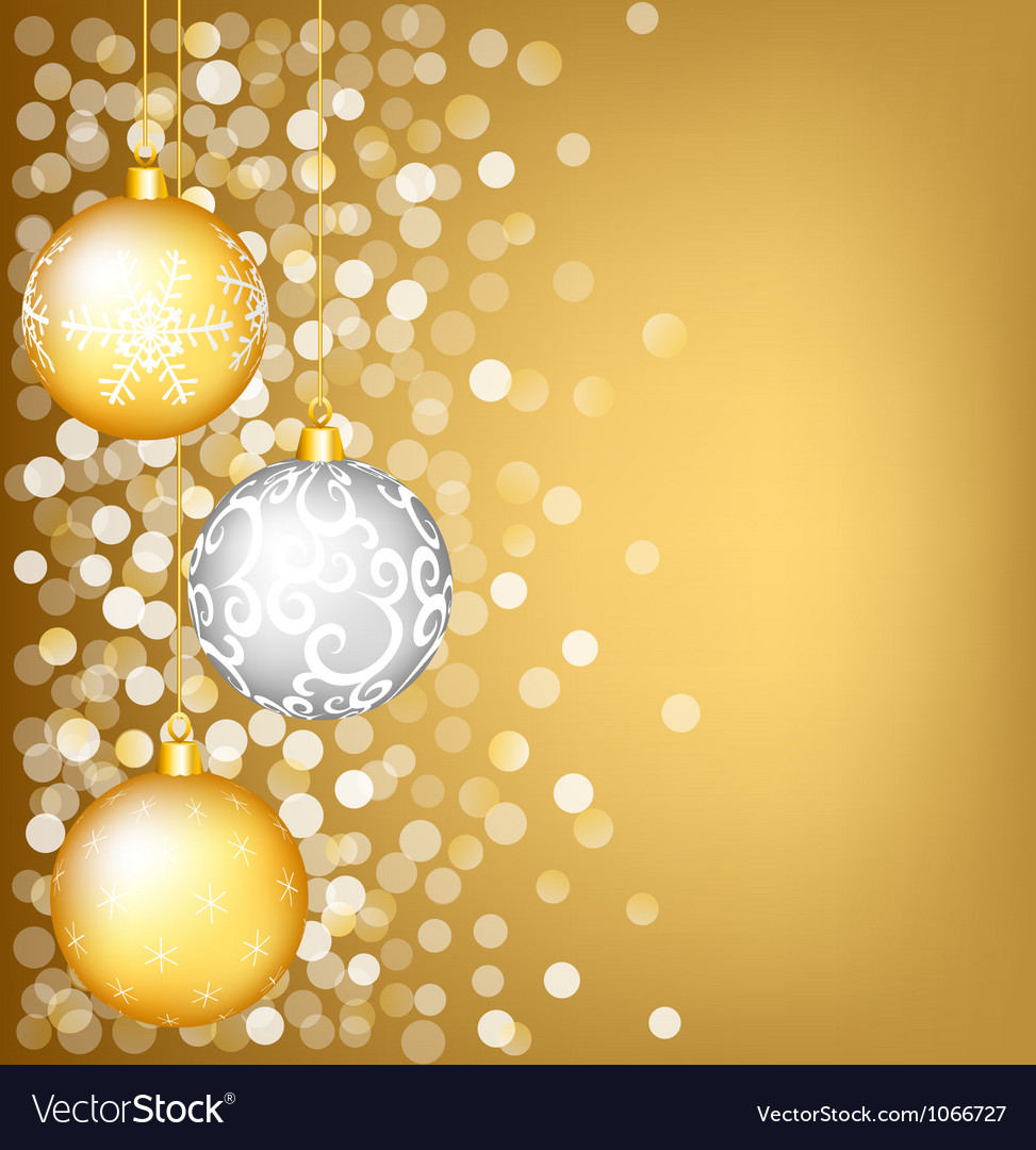 Christmas shiny card with bauble vector image