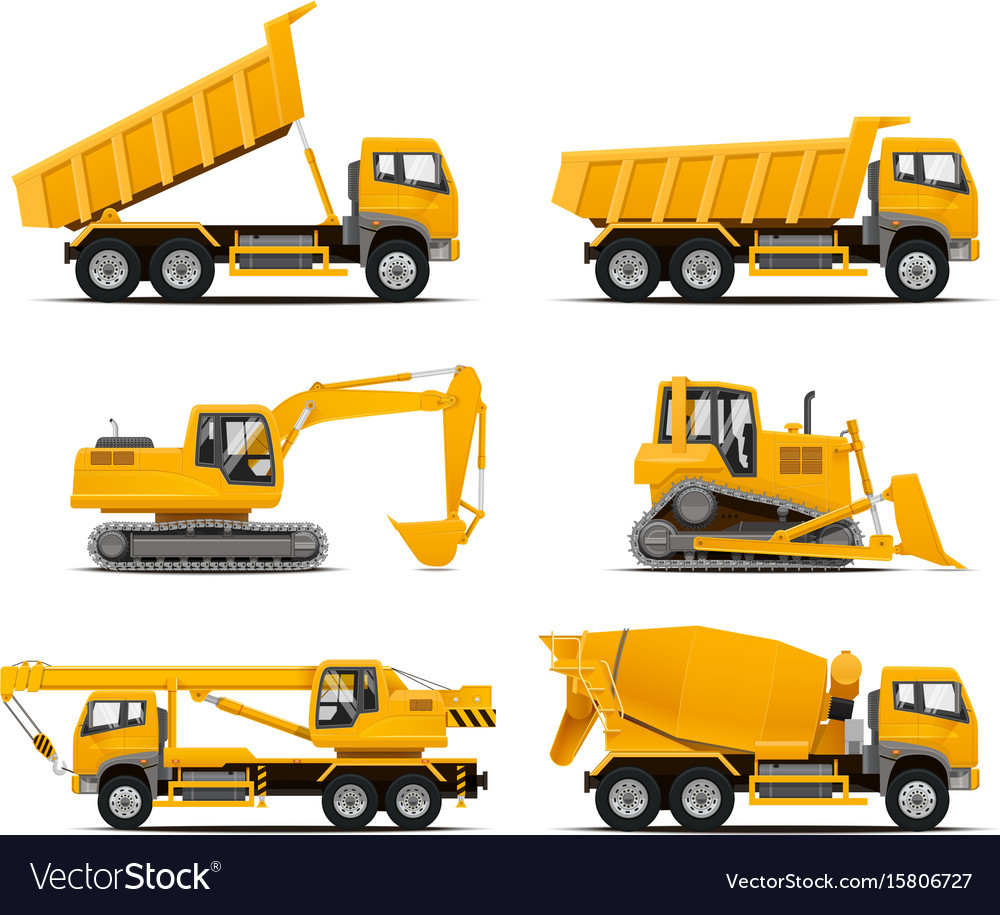 Set of the construction machinery vehicles vector image