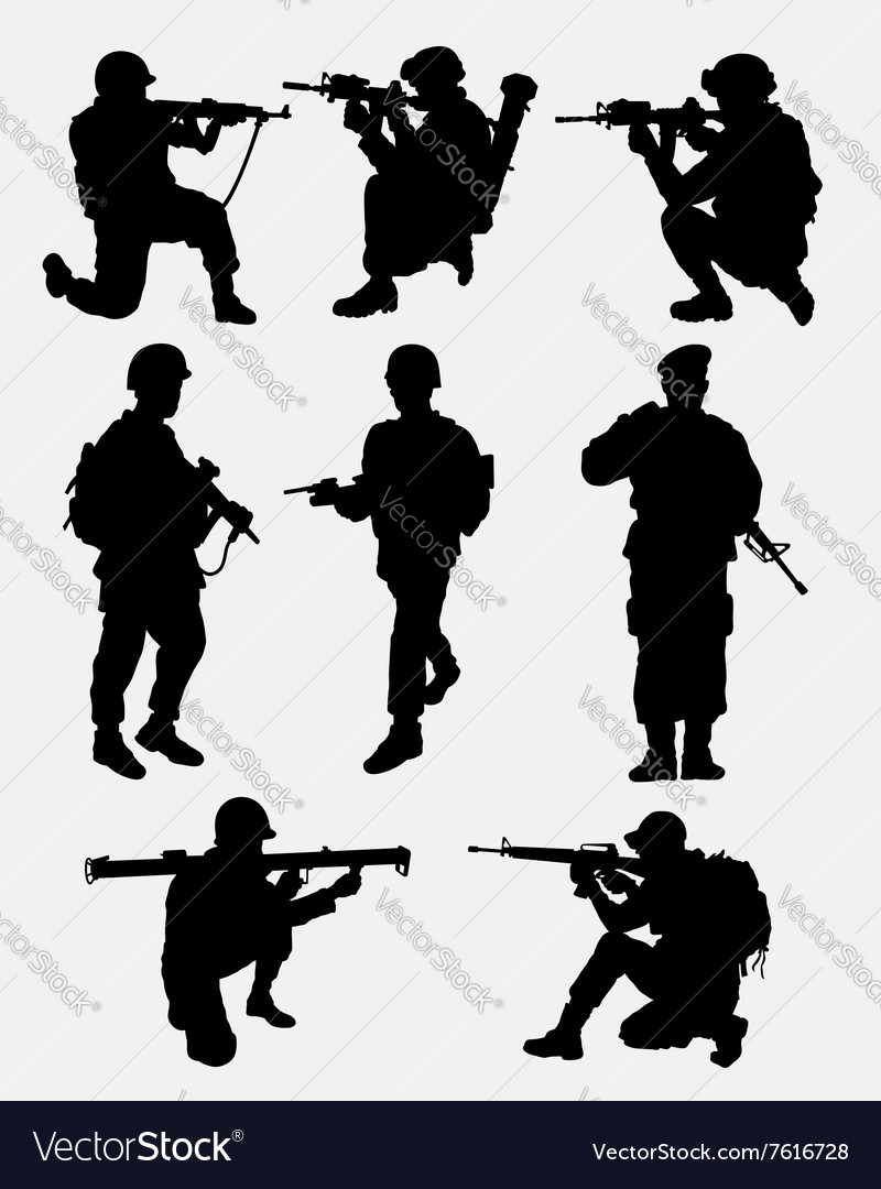 Army military training action silhouette vector image