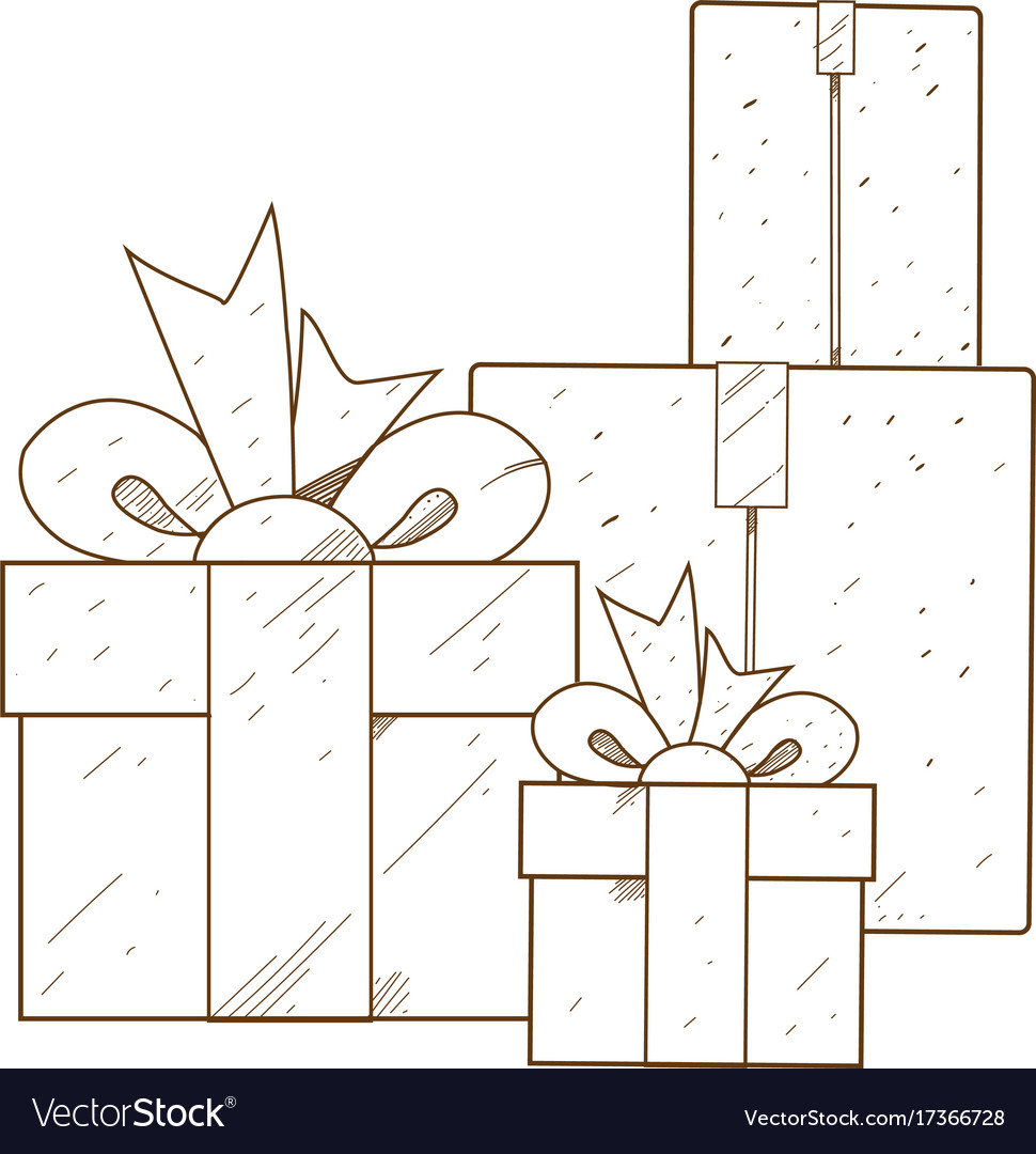 Boxes with gifts outline drawing for coloring Vector Image