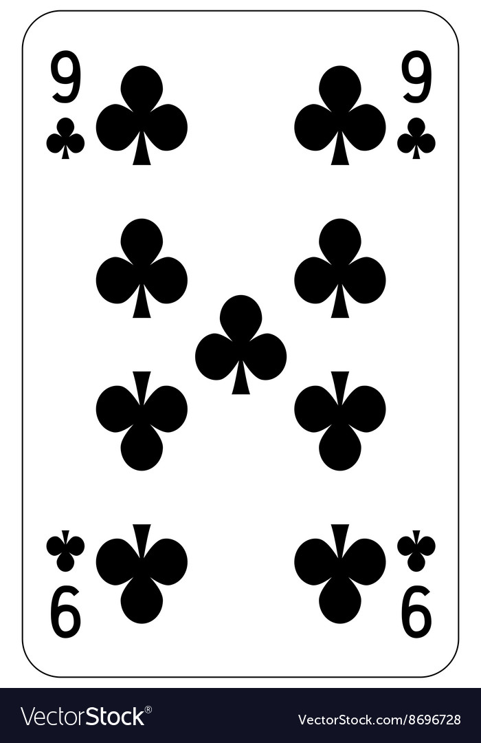 Poker playing card 9 club vector image