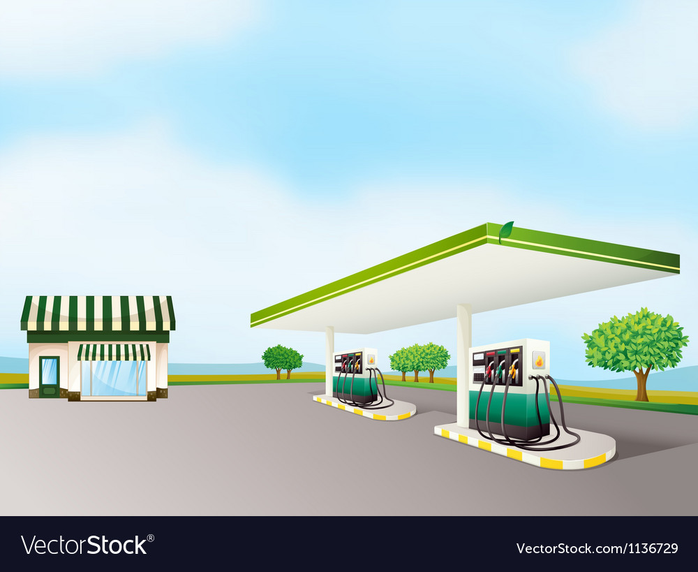 A house and a gas station vector image