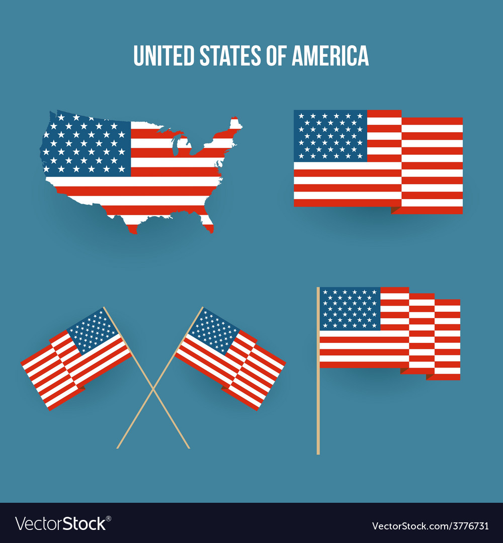 Set Of American Flag And Map Flat Design Royalty Free Vector Image - Free united states map graphic