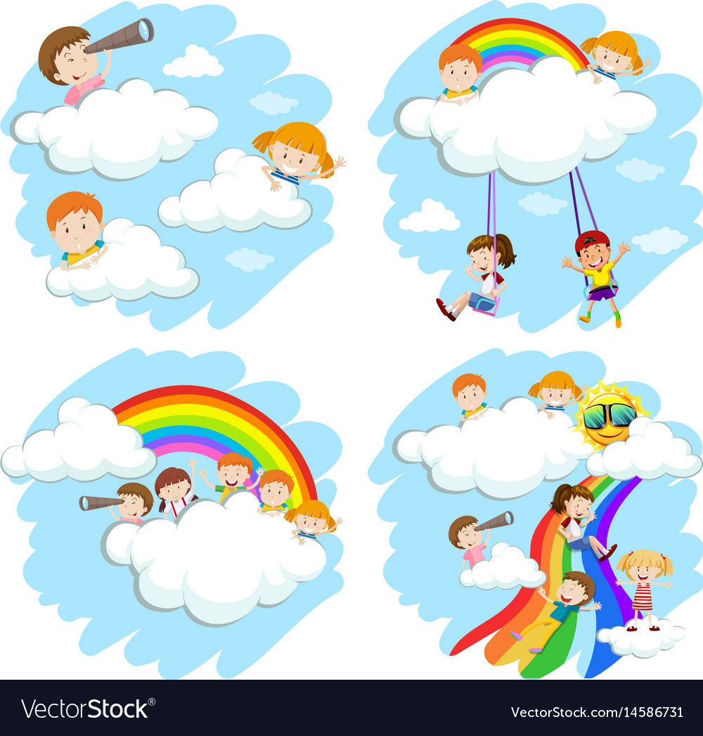 Happy children on fluffy clouds and rainbow vector image