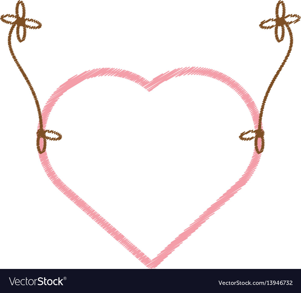 Drawing love heart hanging decorative vector image