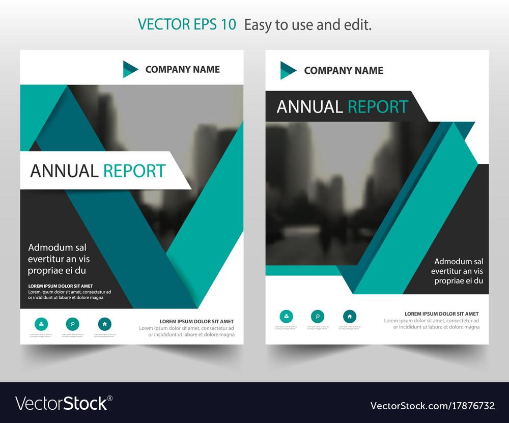 Green black label annual report brochure flyer vector image