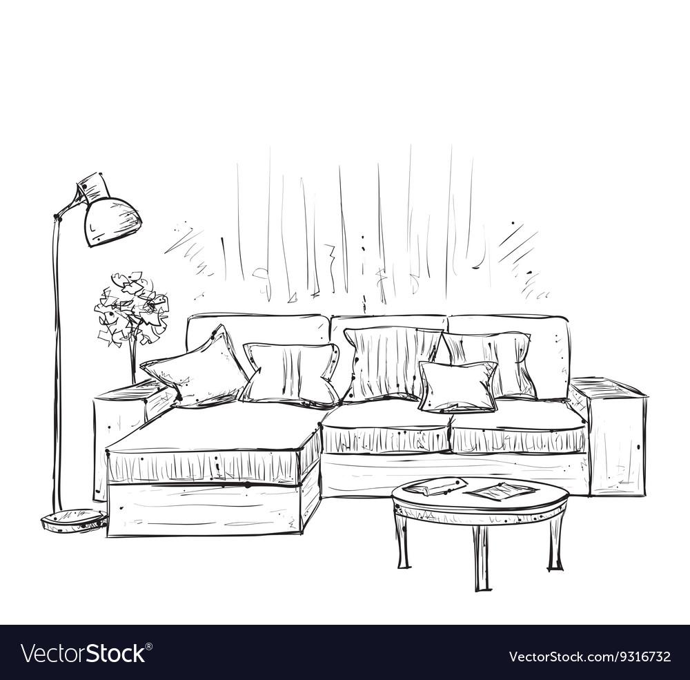 Vector Of Living Room Stock Vector Image Of Sofa: Room Interior Sketch Hand Drawn Sofa Royalty Free Vector