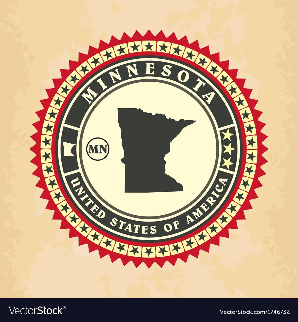 Vintage label-sticker cards of Minnesota vector image