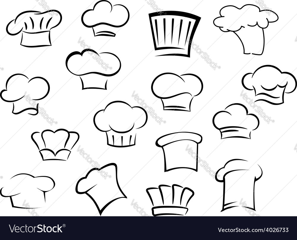 Chef hats or caps for kitchen staff vector image