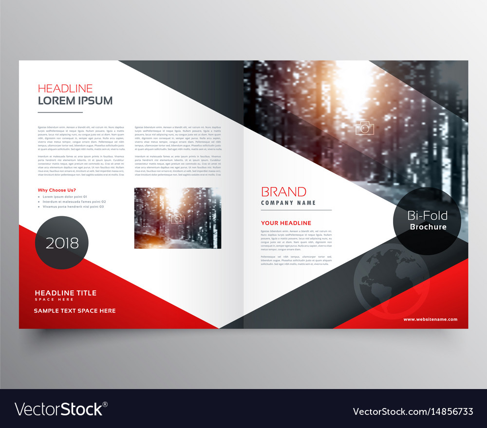 Creative red and black bifold brochure or vector image