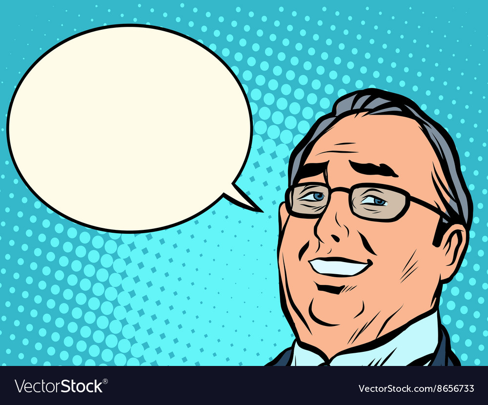 Face business boss comic book bubble vector image