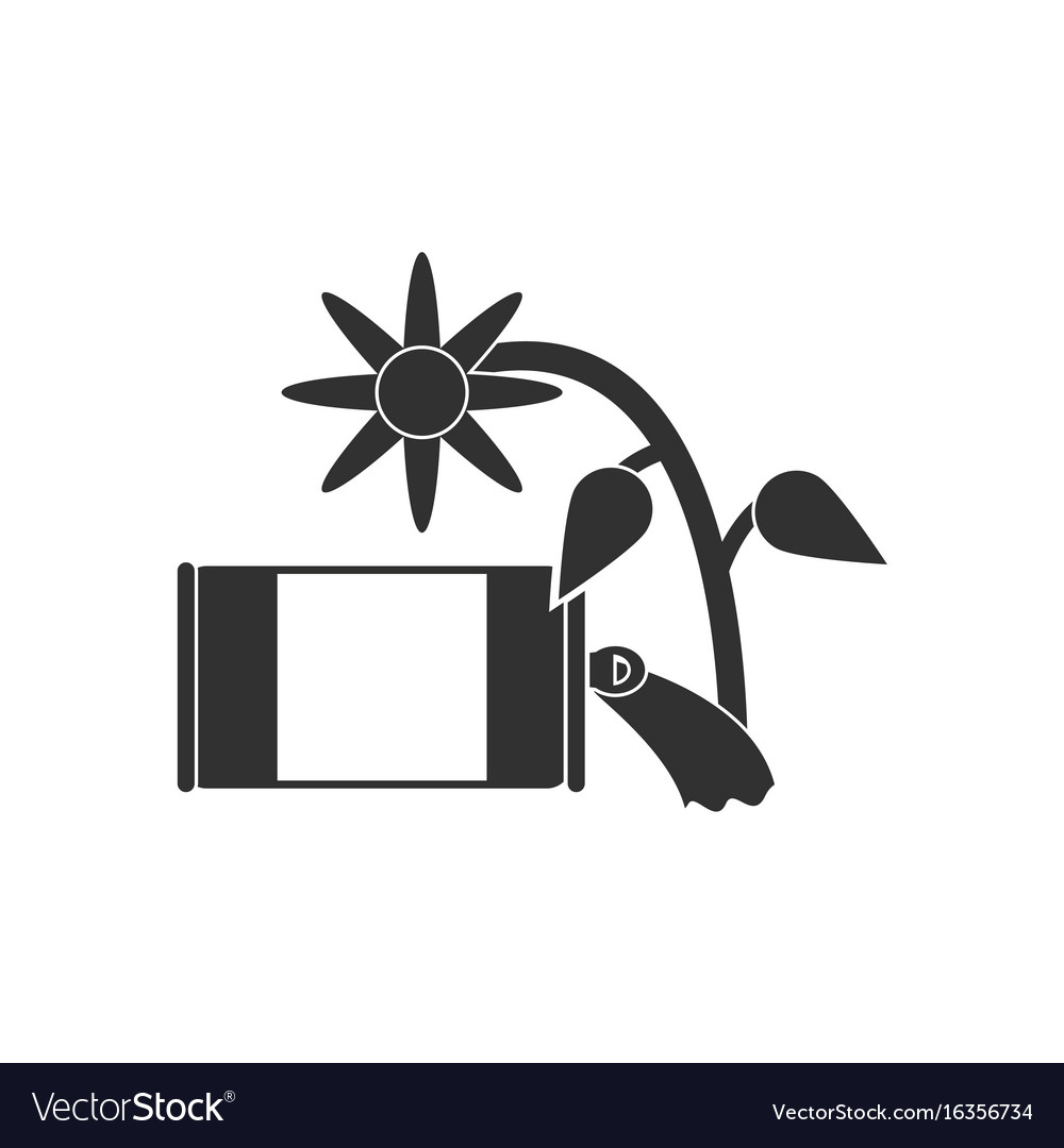 Black icon on white background canned and flower