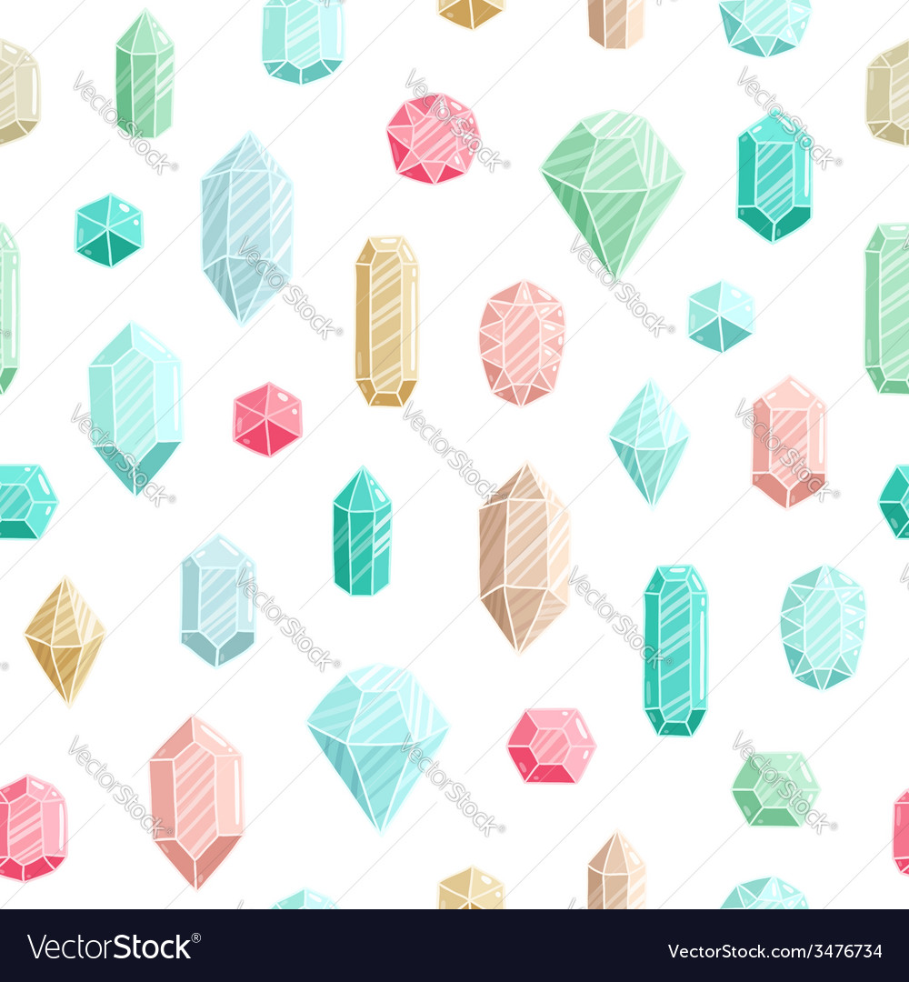 Gemstones seamless pattern vector image