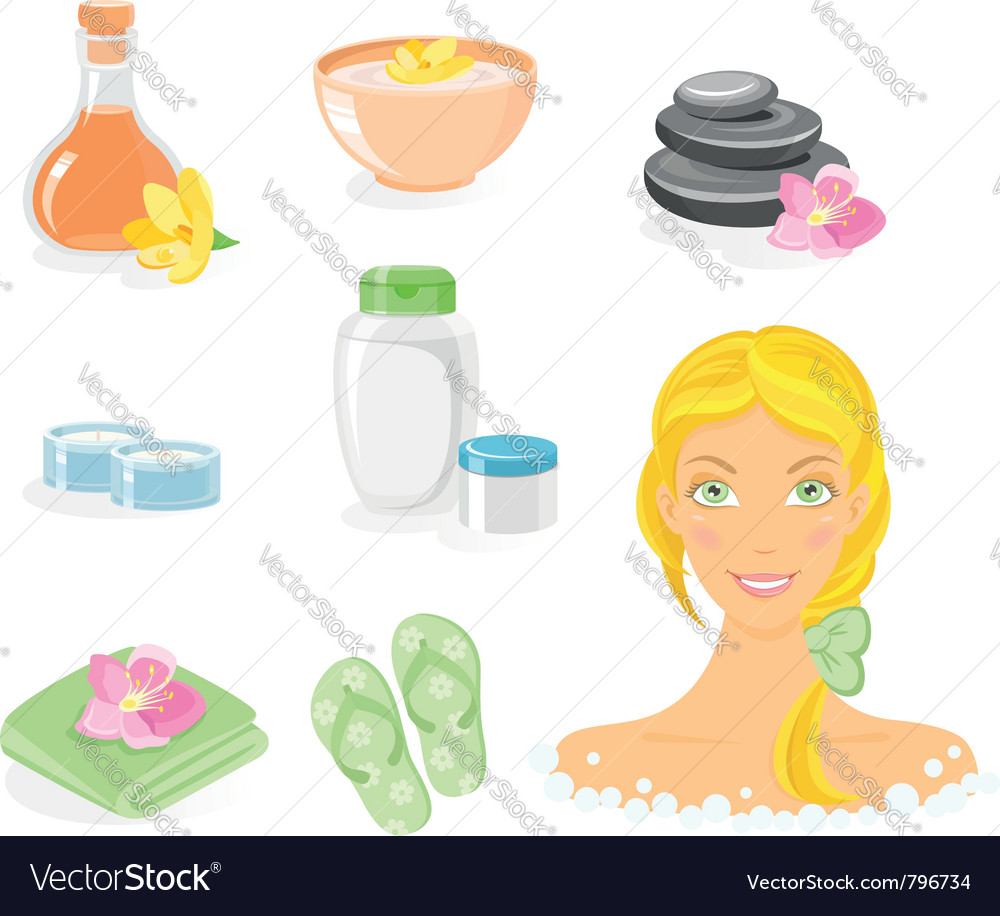 Spa and body care icon set vector image