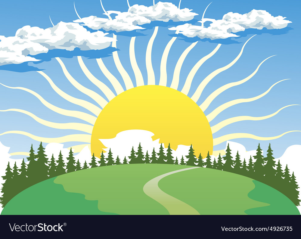 Country landscape with Sun vector image