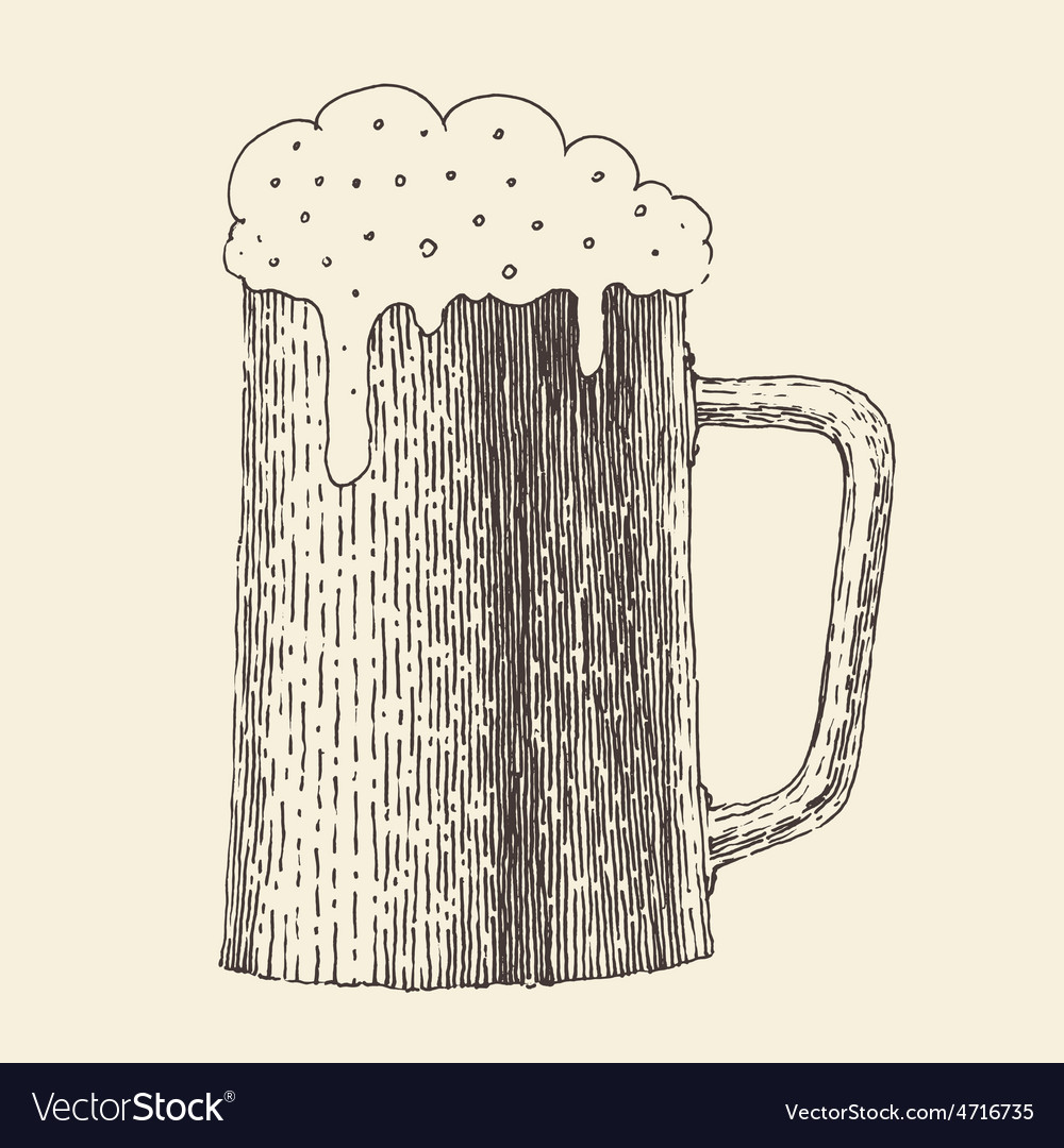 Pint of beer vintage engraved hand vector image