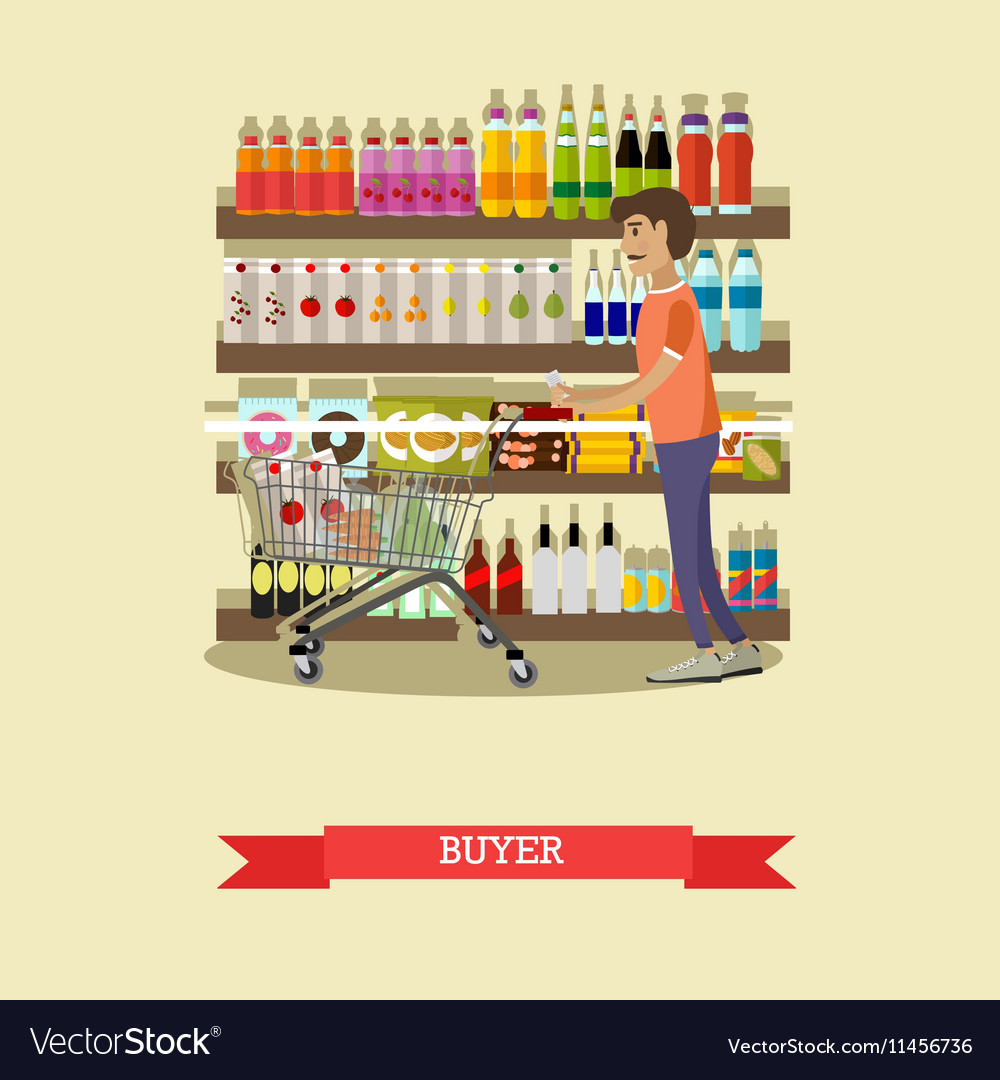 Male customer buying food in grocery store vector image