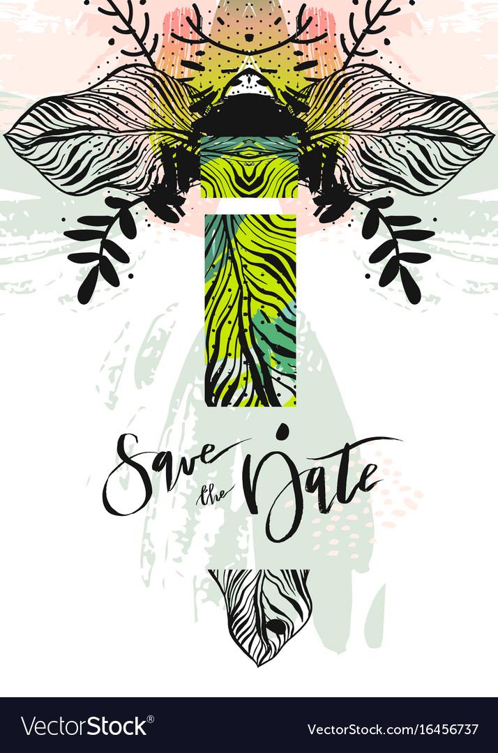 Hand drawn abstract modern boho tropical vector image