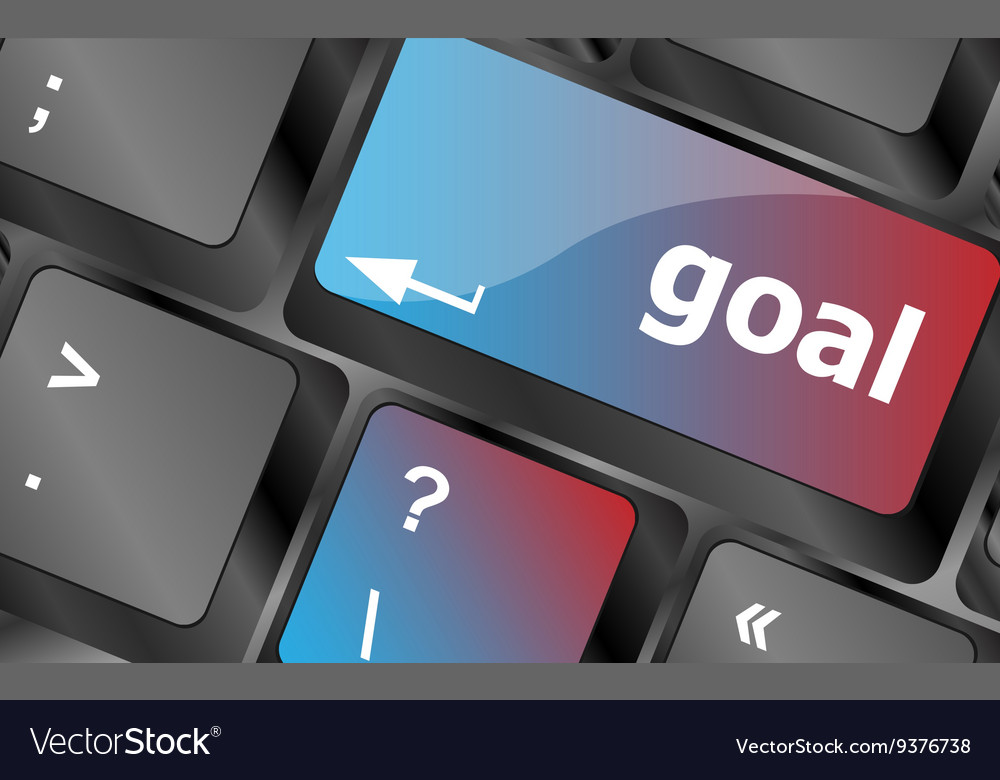 Goal button on computer keyboard - business vector image