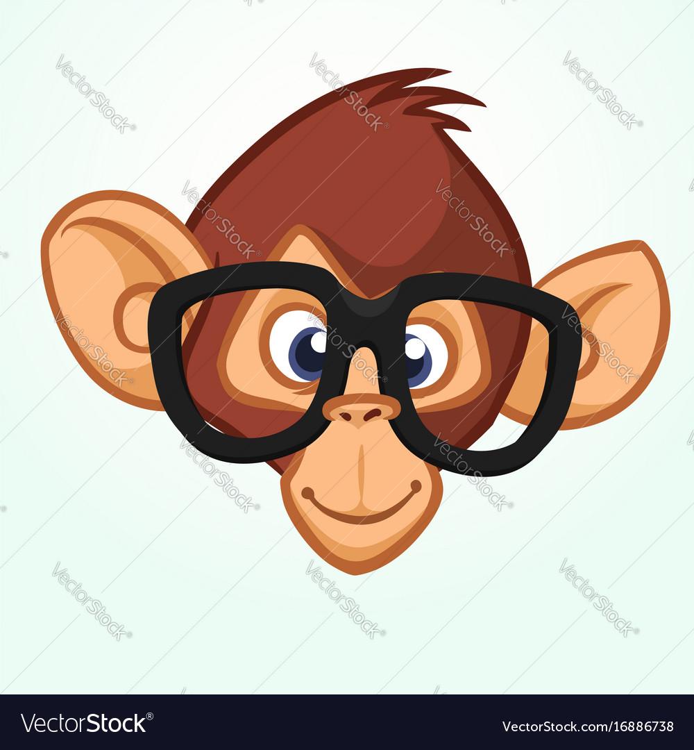 Happy cartoon monkey head wearing glasses vector image