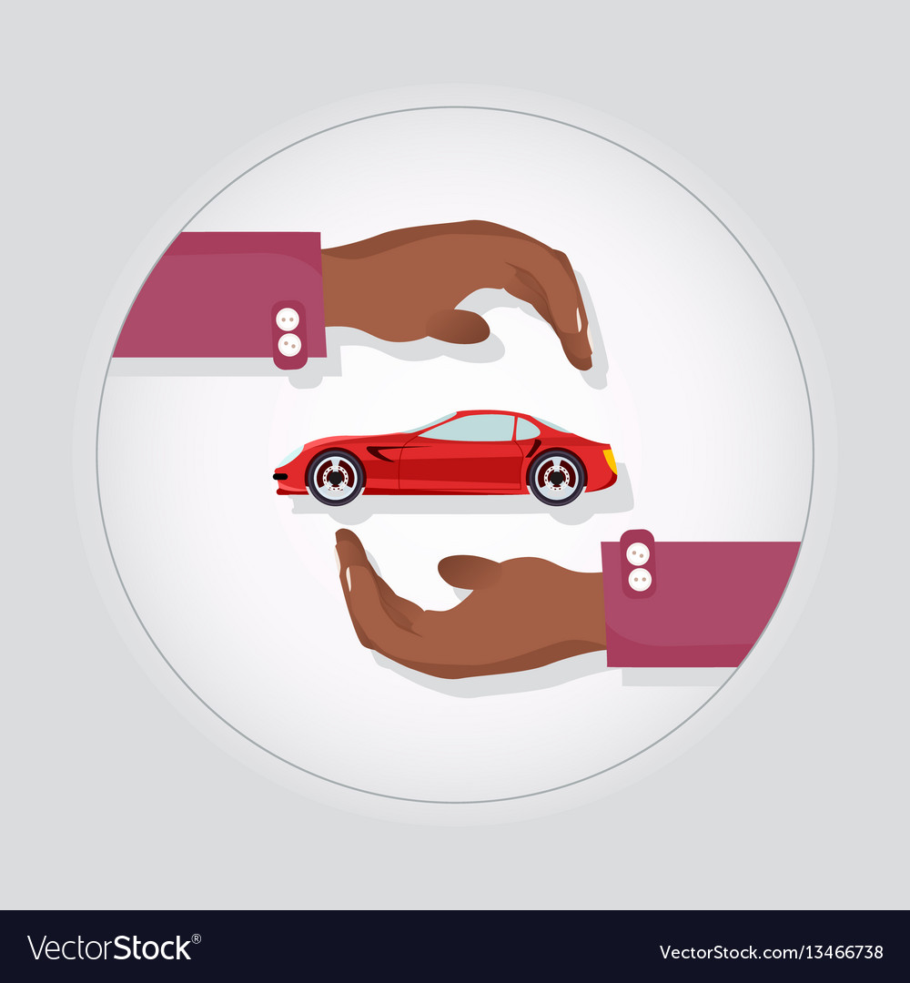Red modern fast sports car in two carefull hands vector image