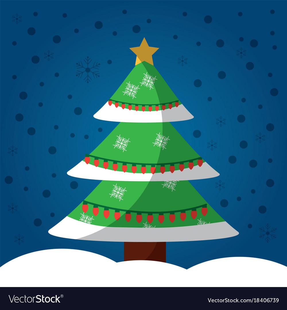 Christmas tree snow star decoration celebration vector image