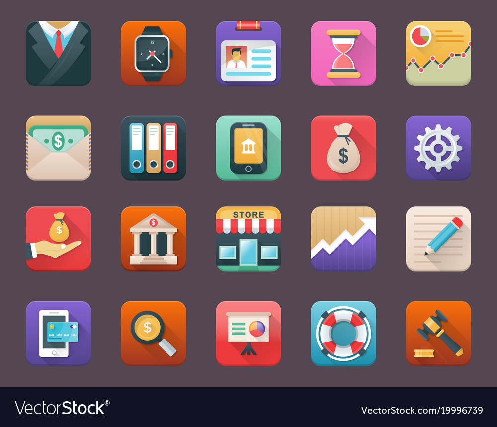 Flat icons set of finance vector image