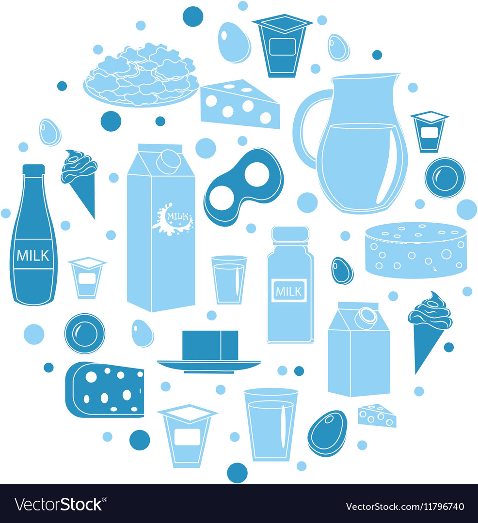 Dairy products icon set in round shape Flat style vector image
