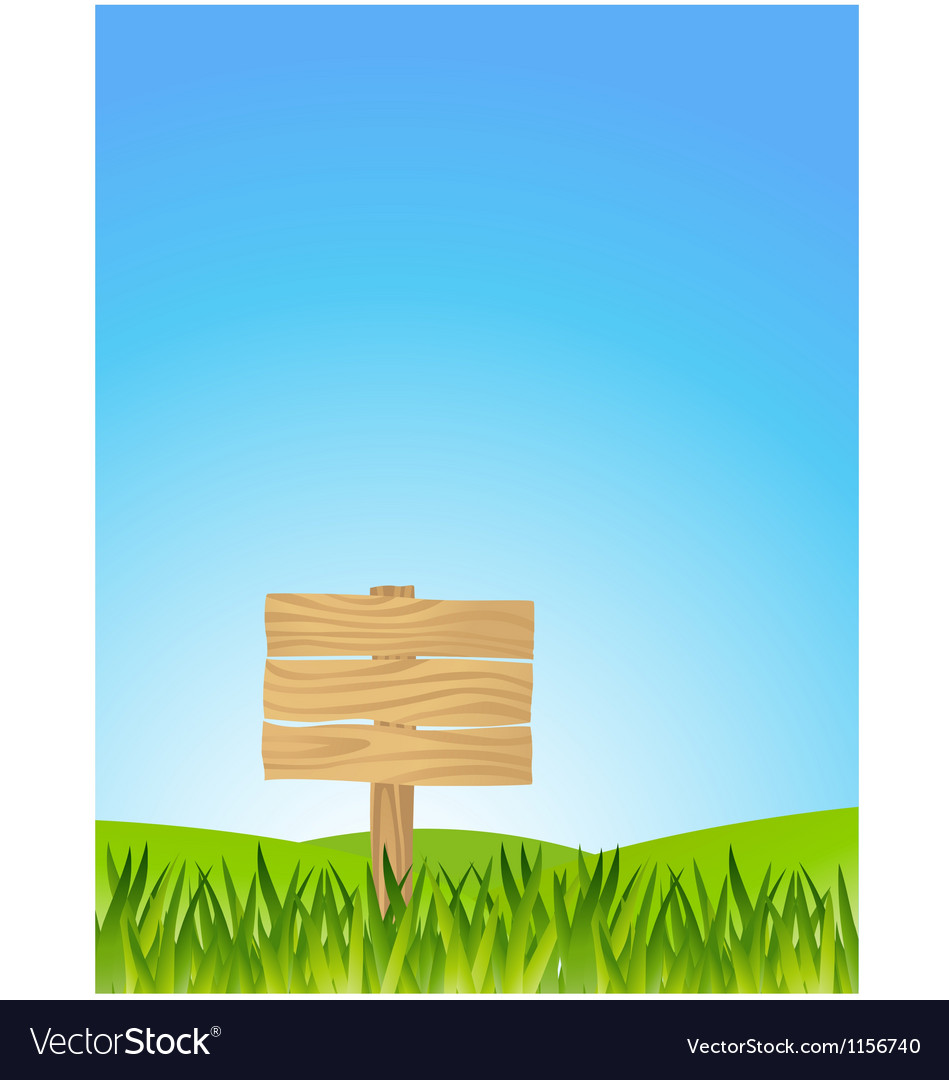 Grass with blank sign vector image
