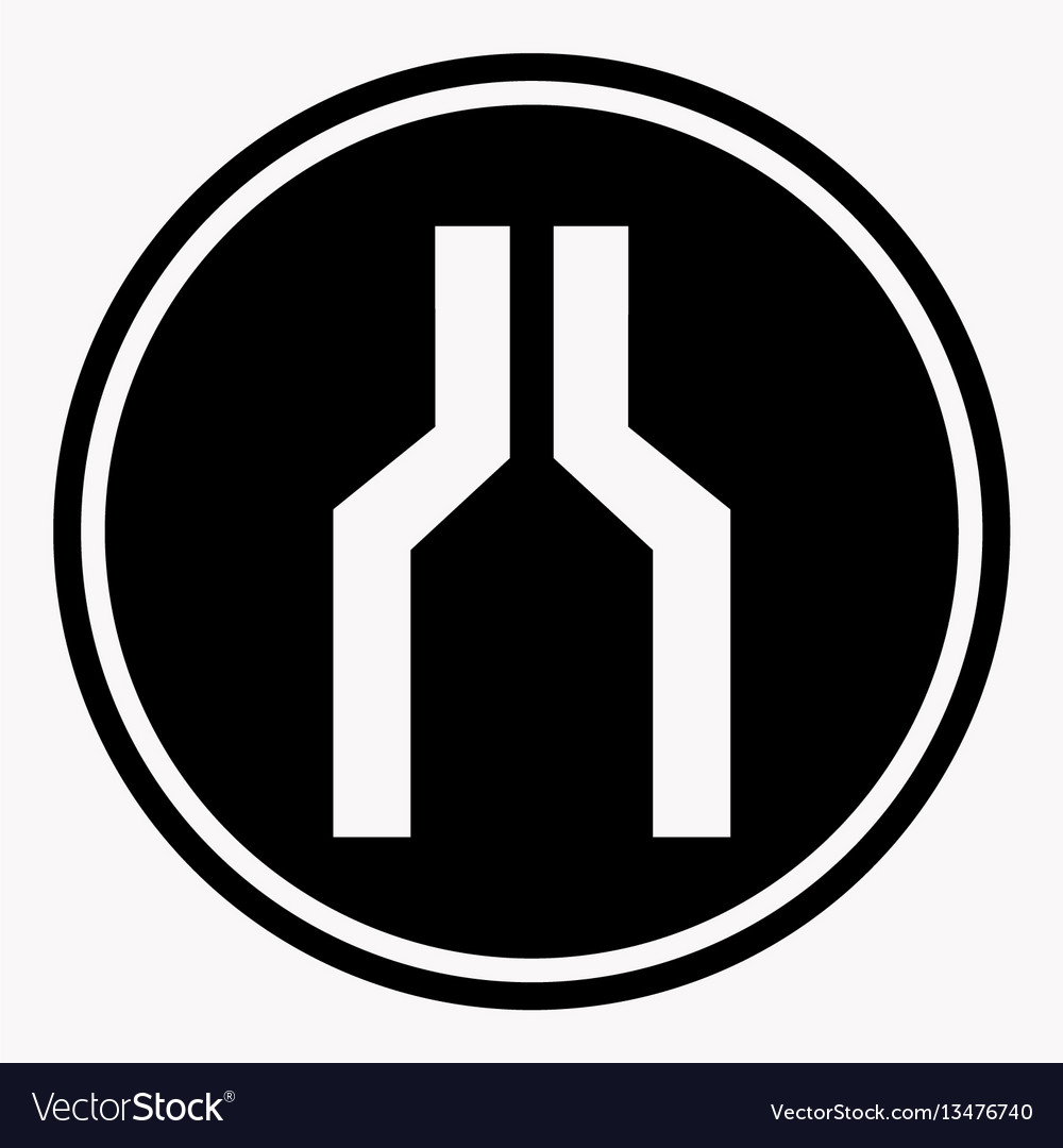Narrowing of two roads warning attention symbol vector image