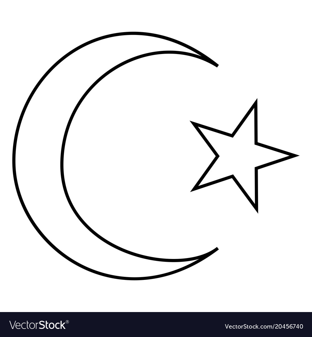 Symbol of islam crescent and star with five vector image buycottarizona Gallery