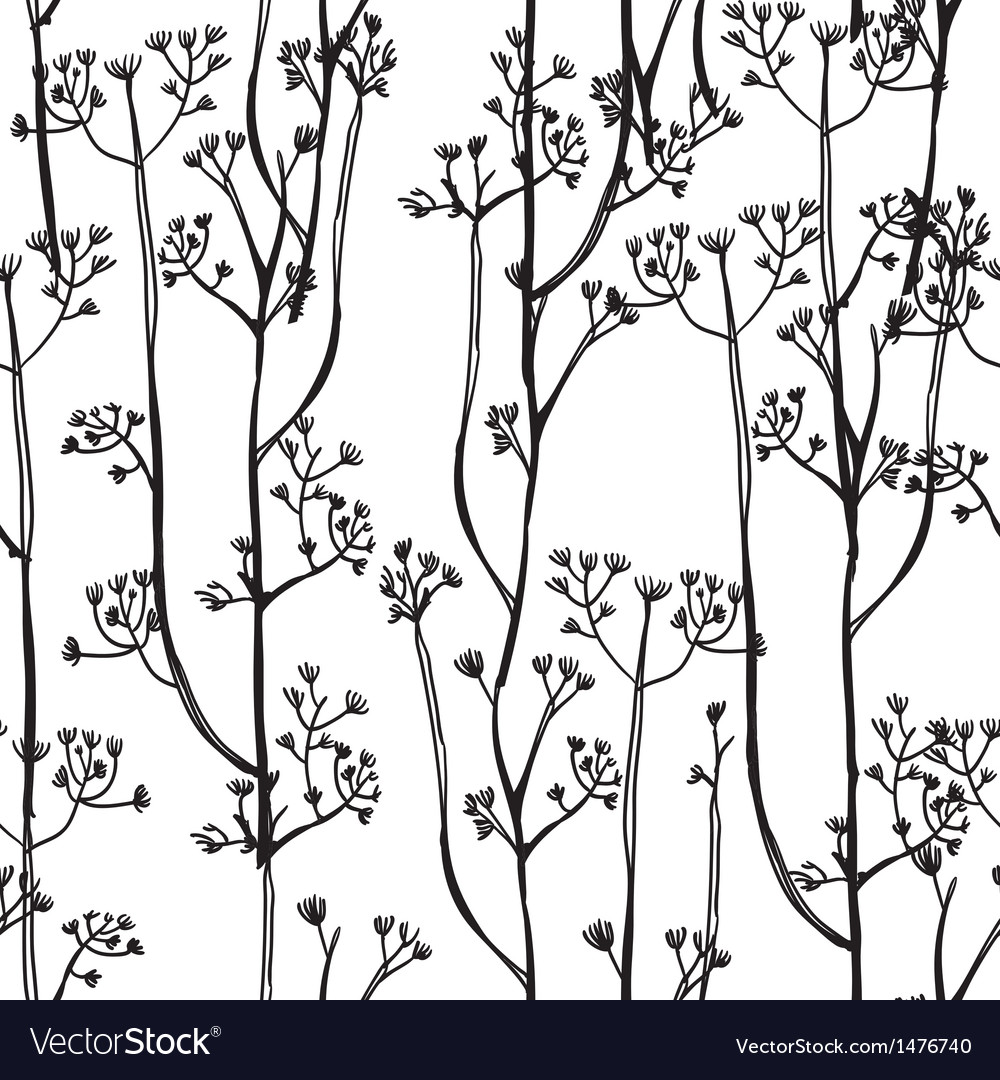 White and black background with abstract plants vector image