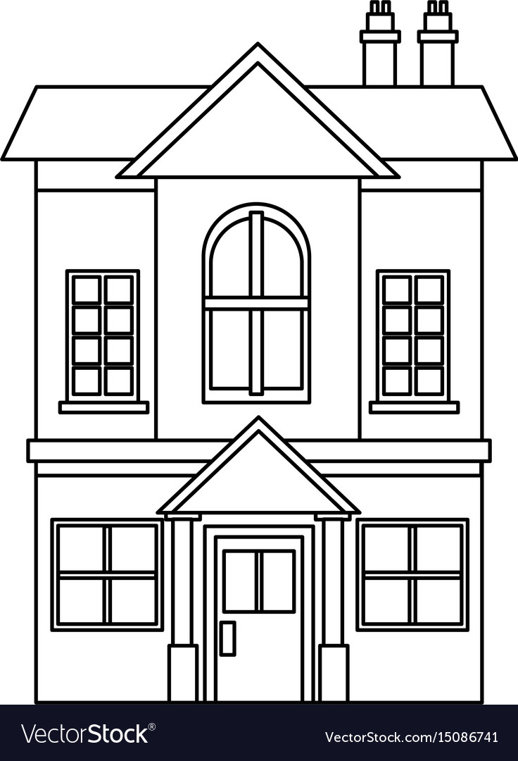 A two story residential house with brick wall and vector image