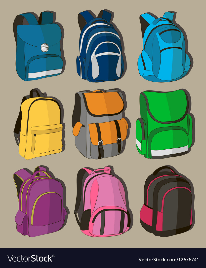 Colored school backpacks set vector image