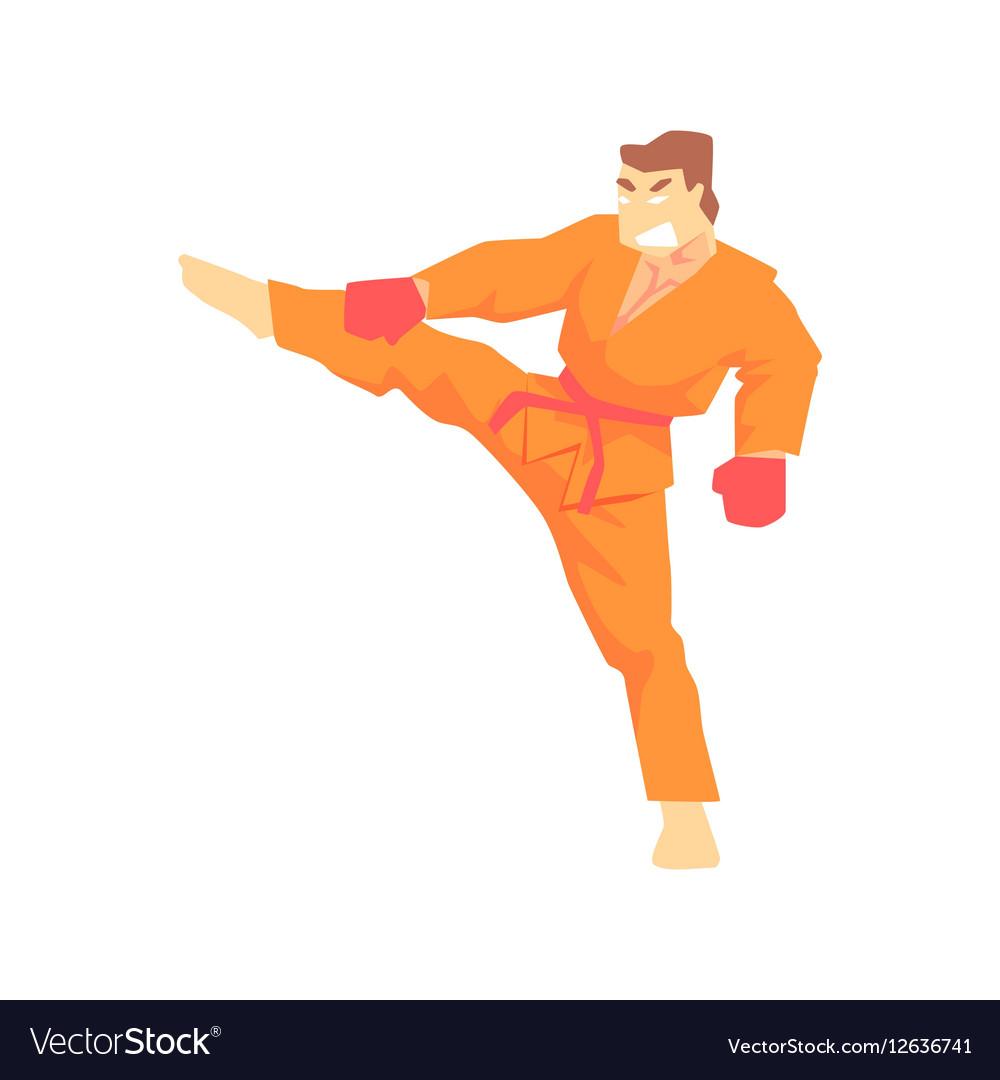 Man In Orange Kimono Taekwondo Martial Arts vector image
