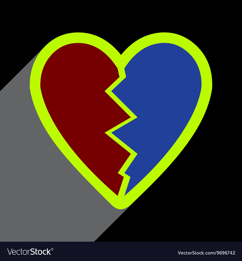Flat with shadow Icon Heart broken pieces on