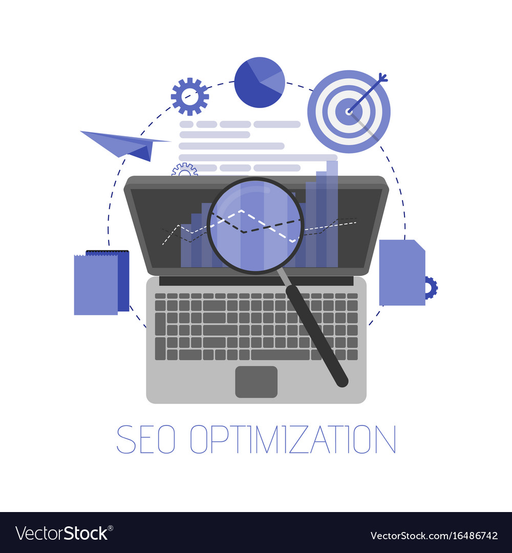 Flat background seo search engine optimization vector image