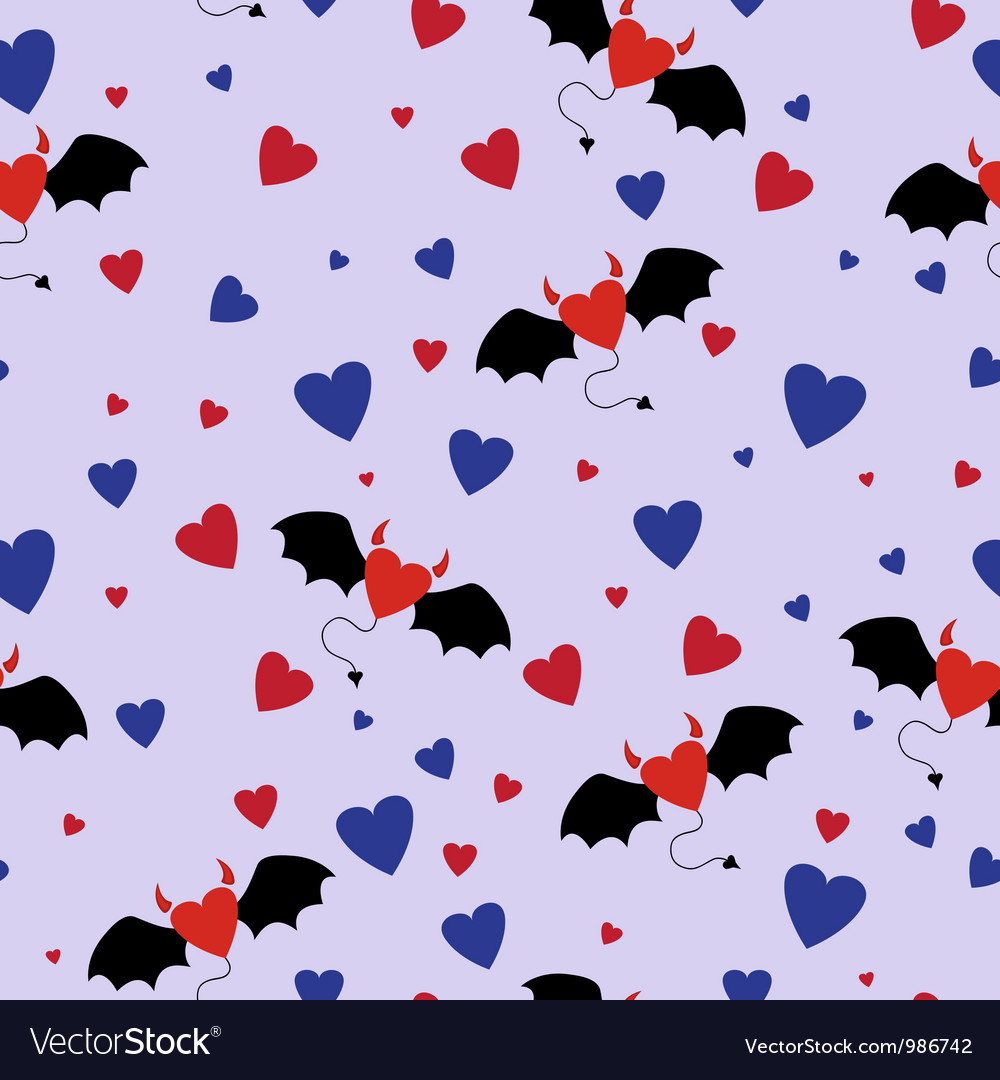Horned Hearts Seamless Pattern vector image