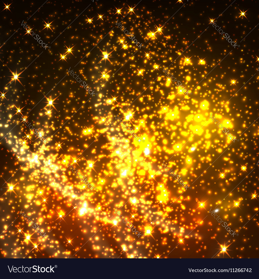 Shiny gold glittering light particles vector image