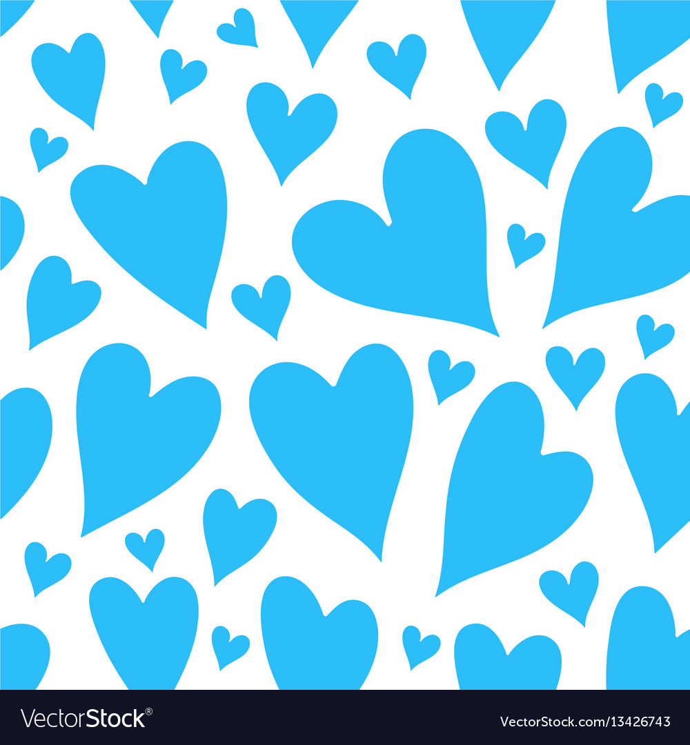 Blue hearts seamless patter vector image
