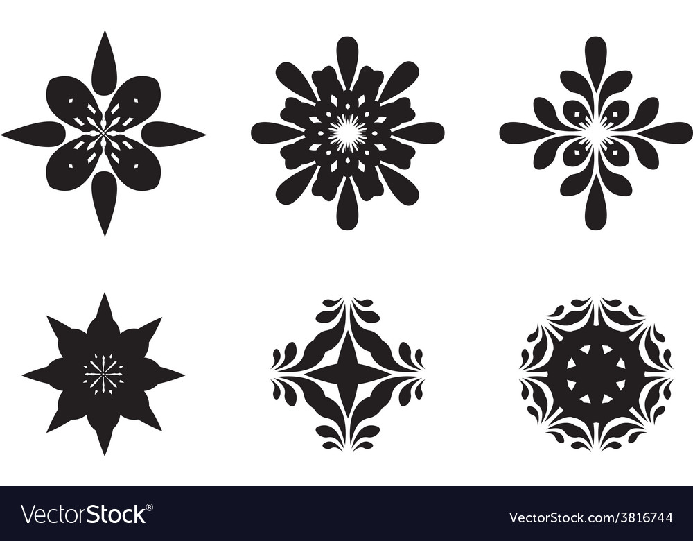 Abstract Flower Icons Stock Vector: Abstract Flower Symbols Royalty Free Vector Image