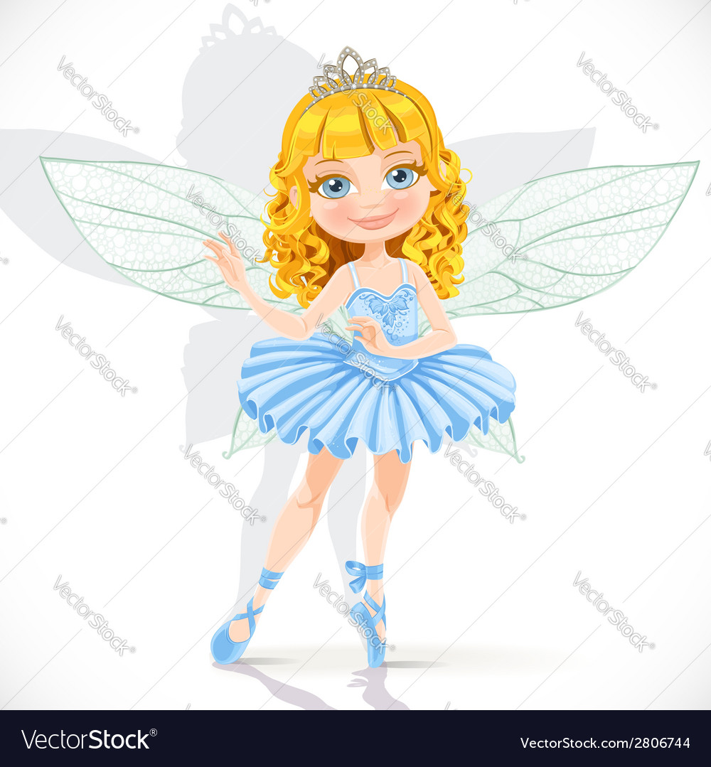 Beautiful little fairy girl in tiara and blue vector image