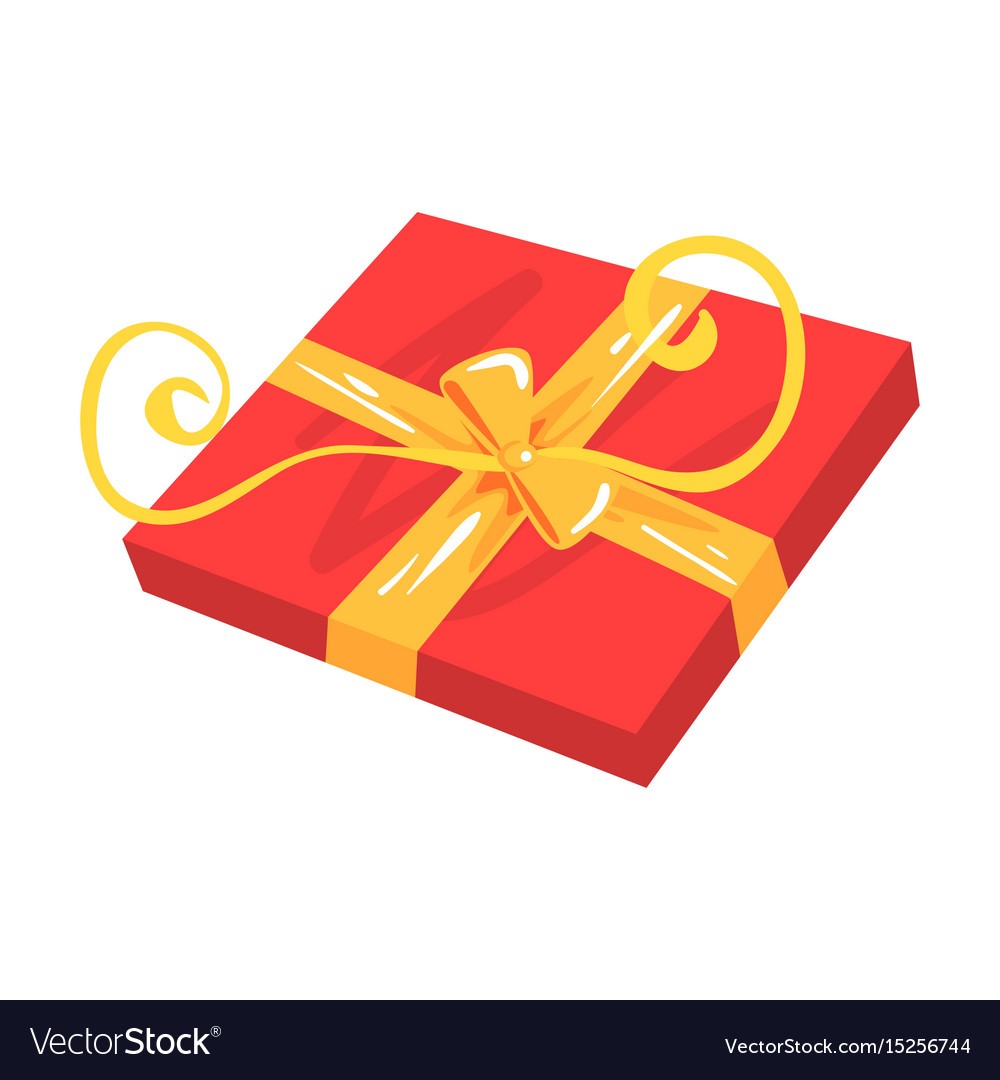 Red gift box with yellow bow cartoon vector image