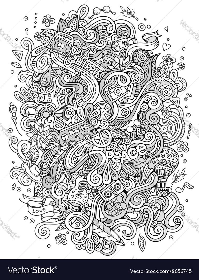 Cartoon hand-drawn doodles hippie vector image